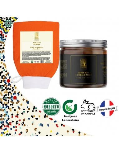 Savon noir à l'huile d'argan et gant de gommage kessa